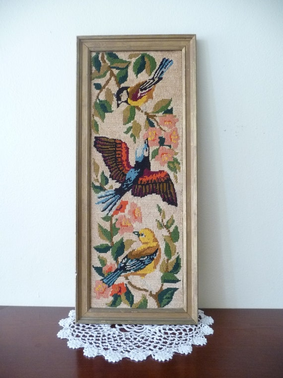 birds and flowers needlepoint hanging wall art, bright pastels home decor
