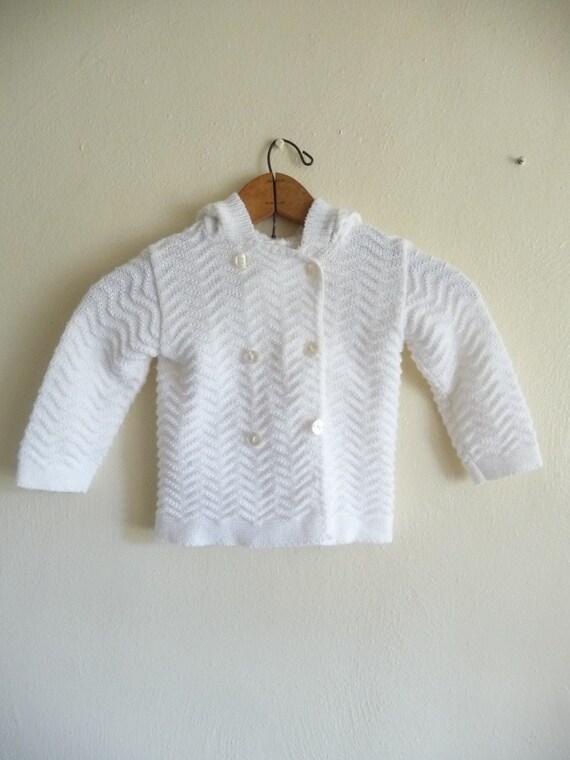 white baby or toddler hoodie cardigan