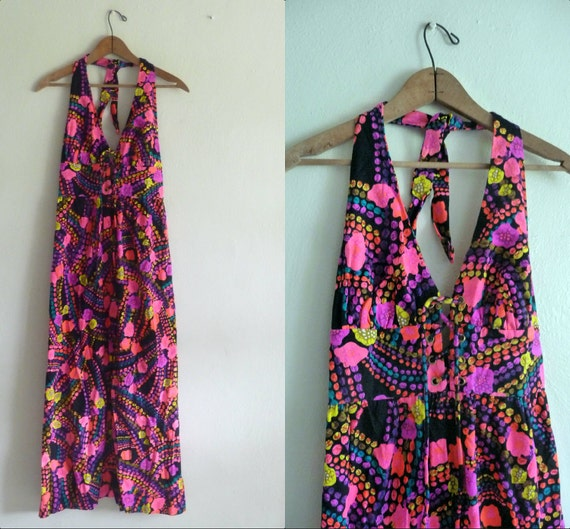 neon maxi dress halter floral abstract print xs xsmall