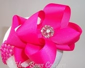 Shocking Pink Large Double Layered Boutique Hair Bow Headband Loopy Style Hairbow Headband  Rhinestone, Newborn Infants,Toddler, Easter Bows