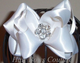 1- Large White Satin Hair Bows with Rhinestone accent in center  Baby, Toddler Baptism, Christening
