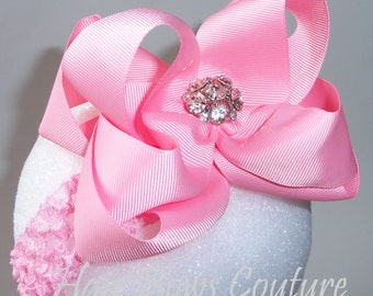 Pink Large Double Layered Boutique Hair Bow Headband Loopy Style Hairbow Headband  Rhinestone, Newborn Infants,Toddler, Easter BowsBows