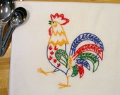 Cocky Colorful Rooster Hand Embroidered Kitchen Dish Towel