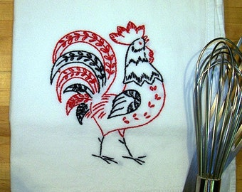 Red and Black Rooster - Hand Embroidered Kitchen Dish Towel