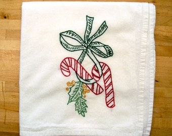 Christmas Candy Canes - Hand Embroidered Kitchen Dish Towel
