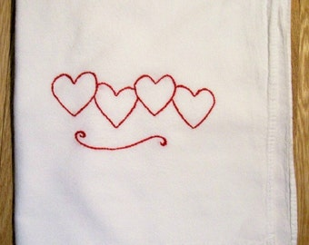 Four Red Hearts-- Hand Embroidered Kitchen Dish Towel