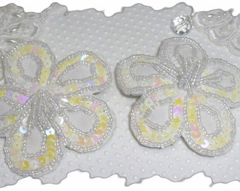 White Flower Sequined Hair Clip and or brooch pin Pair Pefect for Brides or graduates