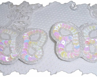 Pair of Romantic Butterfly Hand beaded sequin hair clip and or brooch pins bridal or graduation