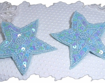 Blue Celestial Star Pair of 2 in 1 Sequin and beaded hair clip and pin combo