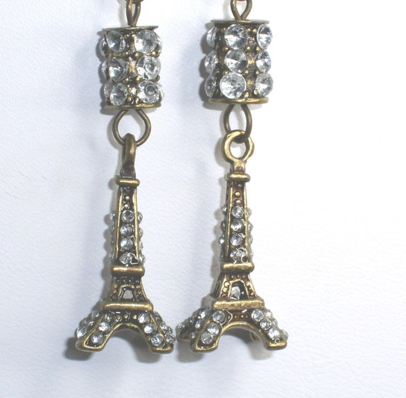 Paris Eiffel Tower 3D  Vintage Look Rhinestone Earrings for Mothers Day or Prom