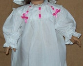 White Nightgown with Cap fits American Girl Doll