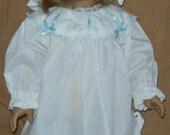 White Nightgown and Cap fits American Girl Doll