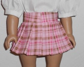 Pink Plaid Pleated Skirt with Blouse and Panties fits American Girl Doll