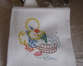 Flour Sack Towel Tea Towel Kitchen Vintage Style Laundry Day Duck