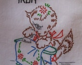 Flour Sack Towel Tea Towel Kitchen Vintage Style Ironing Day Kitty Cat Handpainted On Two Panels