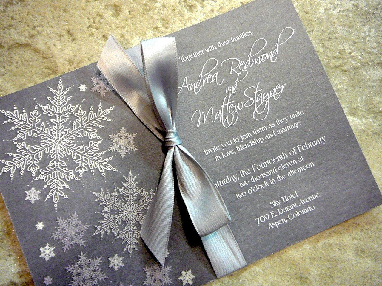 Cool And Frosty Silver Snowflake Winter Wedding Invitation Set