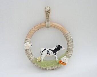 Spring Wreath, Cow Wreath, Farm Animals Wreath, Nursery Wall Decor, Kids Room Decoration, OOAK