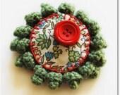 Winter Sun - crocheted olive green brooch