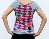 Size M- Rhombus - diamond applique and hand pulled screenprinting grey woman t-shirt