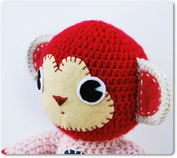 Rosita, a crocheted bubblegum monkey - cute pink and red amigurumi