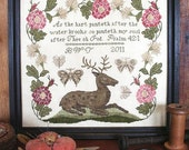 Thirsty Hart : Cross Stitch Pattern by Heartstring Samplery