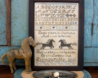 Some Trust in Chariots : Cross Stitch Pattern by Heartstring Samplery