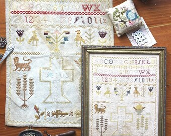 No Cross, No Crown (a Faithfully Reproduced Antique Sampler) : Cross Stitch Pattern by Heartstring Samplery