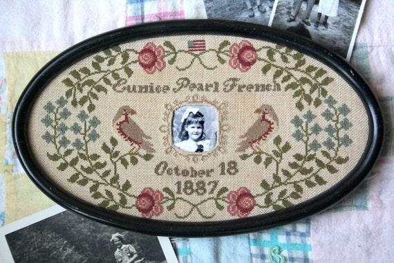 Great Grandma Pearl's Birth Sampler