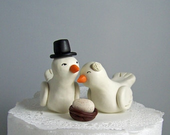 High Fashion Love Birds Cake Topper  with Nest and Egg Large - Choice of Colors