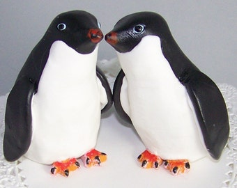Custom Nuzzling Adelie Penguins Cake Topper Hand Sculpted