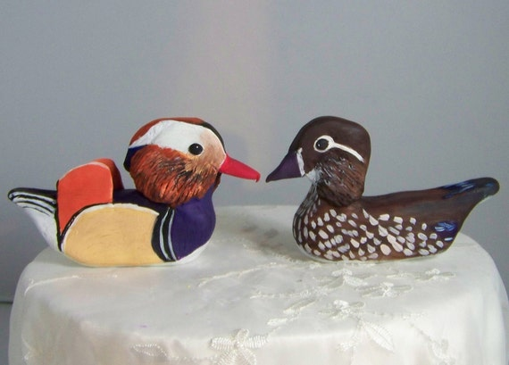 Items similar to love duck wedding cake topper mandarin for Duck decorations home