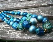 Blue Moon Beaded Boho Necklace