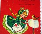 ON SALE Vintage Secret Pal Christmas Card- Unused