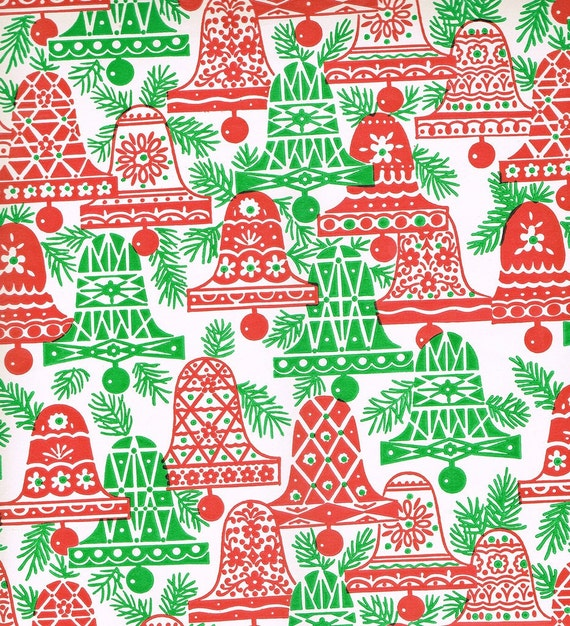 Vintage 1960s Christmas Wrapping Paper - Bells