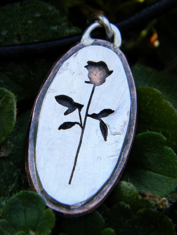 Single Rustic Rose, sterling silver, for your loved one on valentines day, hand made flower, copper, every day wear, pendant,