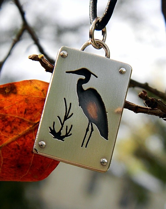 Heron pendant, sterling silver, copper, hand made every day wear, nature, wild bird, pond life, silhouette, riveted,