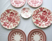 Instant Wall Collection of 7 Red and White Transferware Plates with Hangers
