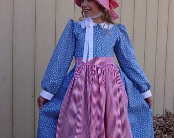 Historical Costumes Americal Colonial Girl Pioneer Boutique -Kristie- Child size