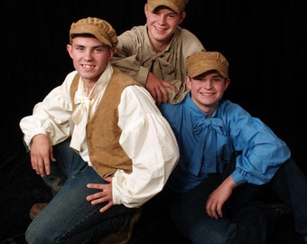 Williamsburg Historical Clothing Boys Handmade Colonial Civil War Era -Pioneer Shirt Vest Hat- Child Sizes up to 14