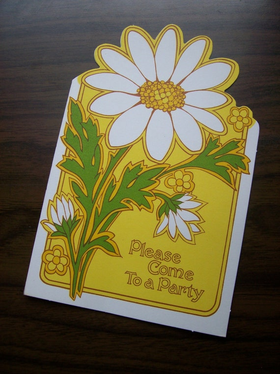 Vintage 1970s Floral Party Invitations