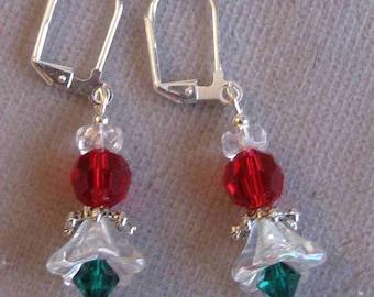 Crystal Christmas Angel Earrings