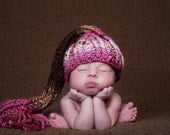 Elf Hat in Pink and Brown - 3 to 6 Months