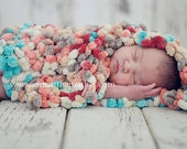Baby Photography Props, Baby Wrap in Buttons of Pink, Yellow, Teals, Greens - 15 inches x18 inches