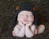 Aviator Hat, Baby Boy Hat, Bomber Hat, Earflap Hat, Crochet Hat, Photo Prop, Grey