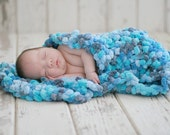 Baby Photography Props, Baby Wrap in Buttons of Blues - 15 inches x18 inches