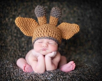 Baby Giraffe Hat in Camel Caramel and Brown, Baby Photo Prop, Newborn Size