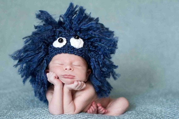 Blue Newborn Baby Hat - Sesame Street Cookie Monster - Photography Prop - Costume - Animal - Fluffy