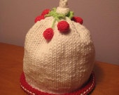 Knitted Baby Hat - Hand Knit Baby Hat with Cherries On Top of White Cotton Baby Beanie