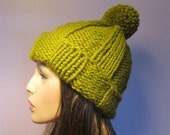 Green or Other Colors Knit Hat - Hand Knit Warm Knit Hat with Large Pom Pom
