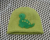 Knitted Baby Hat - Green Dinosaur Hand Knit Baby Hat